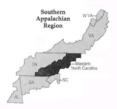 map showing nc as part of southern appalachia region